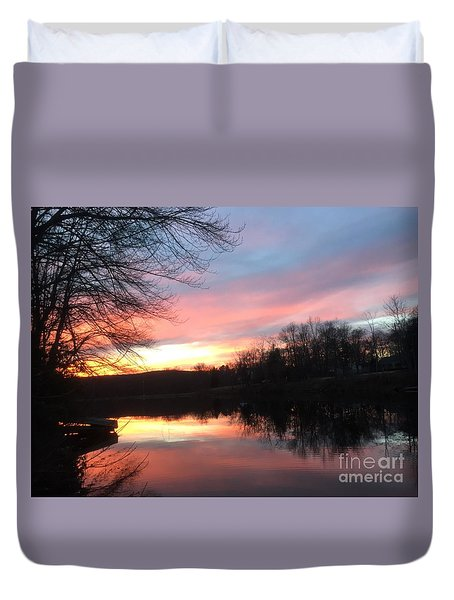 Fire On The Water Duvet Cover by Jason Nicholas