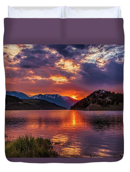 Fire On The Water Reflections Duvet Cover