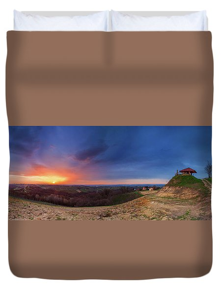Duvet Cover featuring the photograph Fire On The West Side by Davor Zerjav