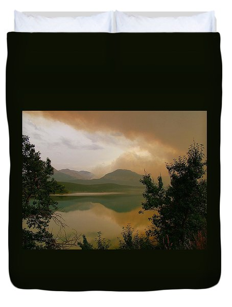 Fire Over St Mary Lake Duvet Cover