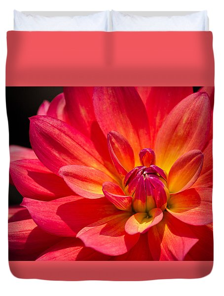 Fire Pot Dahlia Duvet Cover