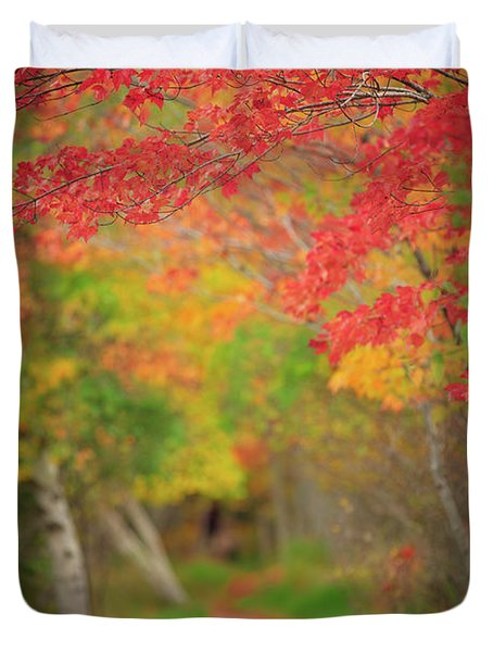 Duvet Cover featuring the photograph Fire Red Path  by Emmanuel Panagiotakis