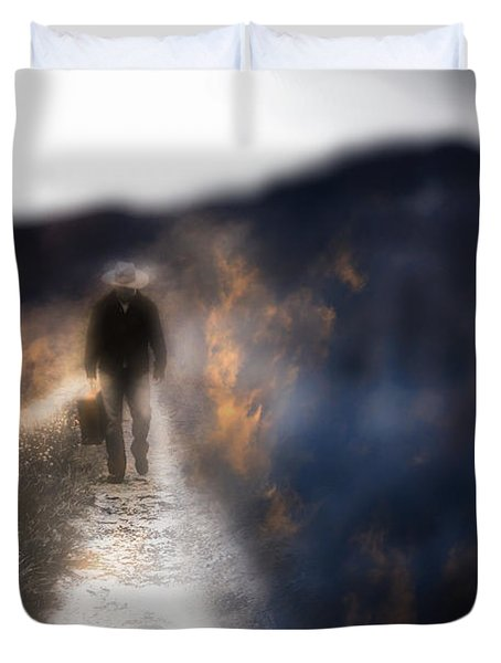 Fire Road Duvet Cover by Gray  Artus