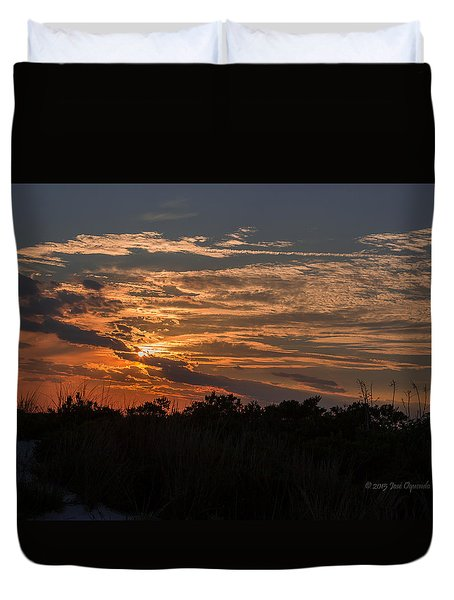 Duvet Cover featuring the photograph Fire Sky Sunset by Jose Oquendo