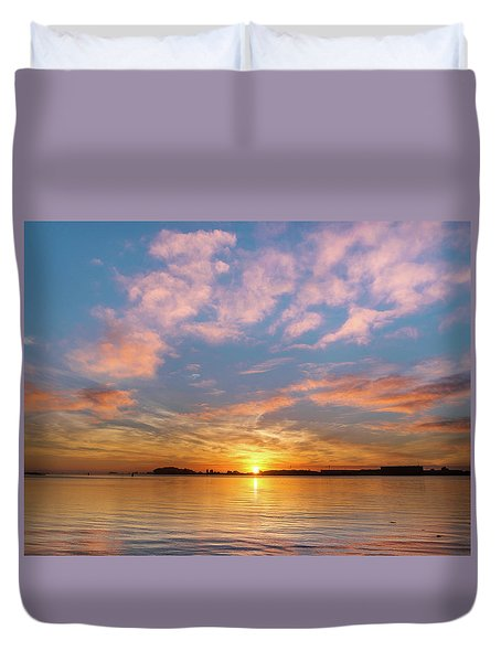 Fire Sunset On Humboldt Bay Duvet Cover