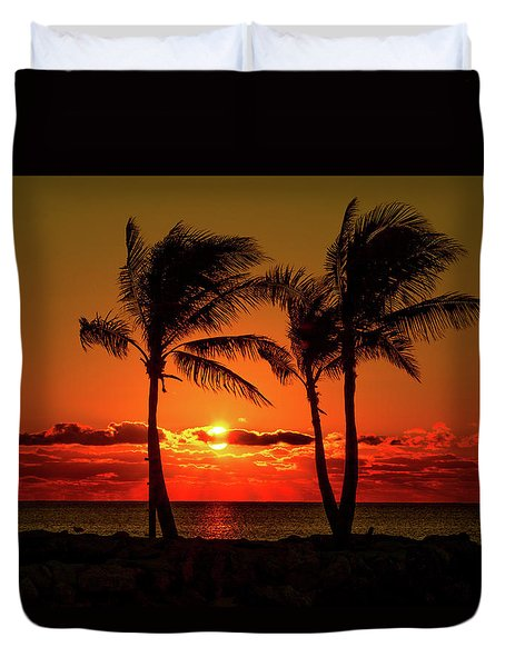 Fire Sunset Through Palms Duvet Cover