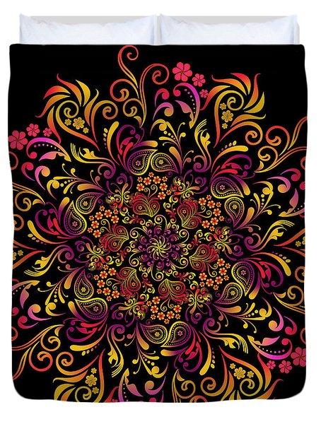 Fire Swirl Flower Duvet Cover