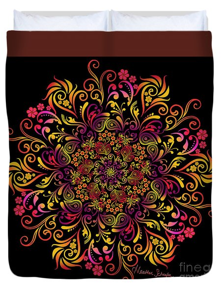Fire Swirl Flower Duvet Cover
