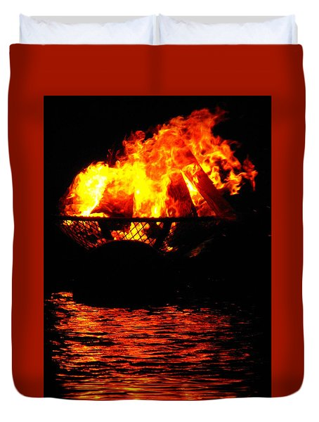 Fire Water Illuminates The Night Duvet Cover
