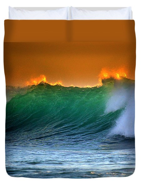 Fire Wave Duvet Cover by Lori Seaman