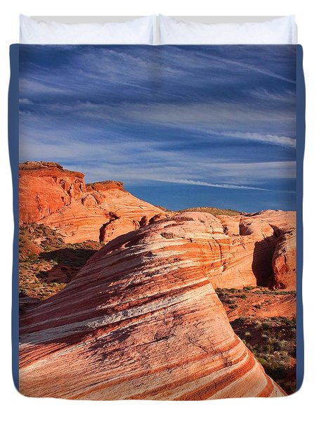 Fire Wave Duvet Cover by Tammy Espino