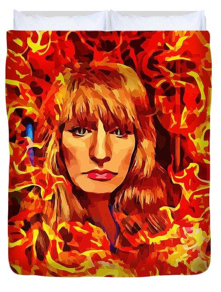 Fire Woman Abstract Fantasy Art Duvet Cover