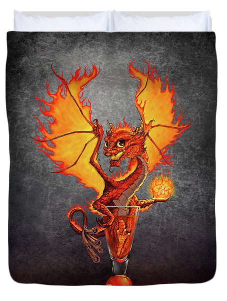 Duvet Cover featuring the digital art Fireball Dragon by Stanley Morrison