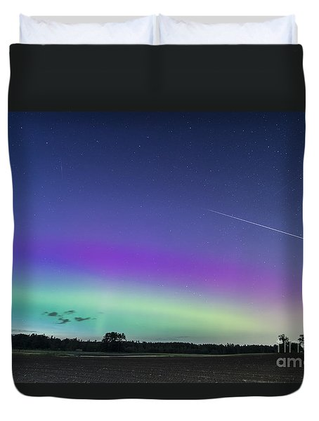 Fireball One Over The Farm Duvet Cover by Patrick Fennell