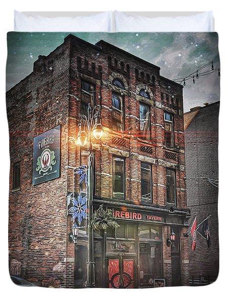 Firebird Tavern Duvet Cover by Donald Yenson