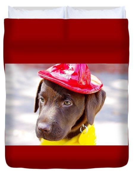 Firefighter Pup Duvet Cover by Toni Hopper