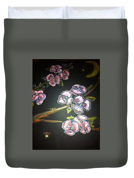 Fireflies And Dogwood Duvet Cover