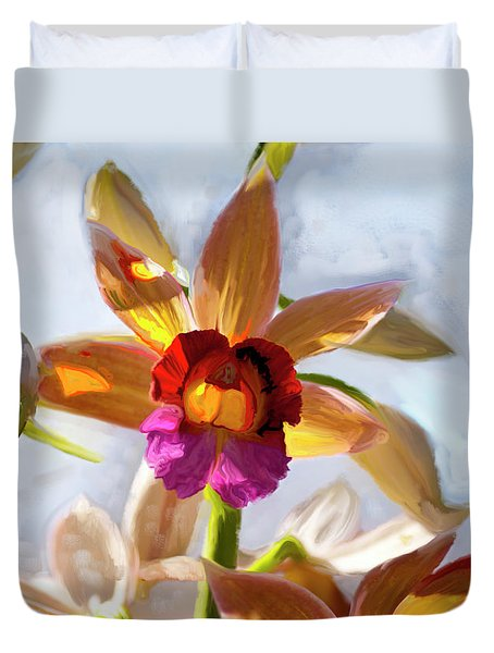 Firefox  Orchid Painting Duvet Cover by Don  Wright