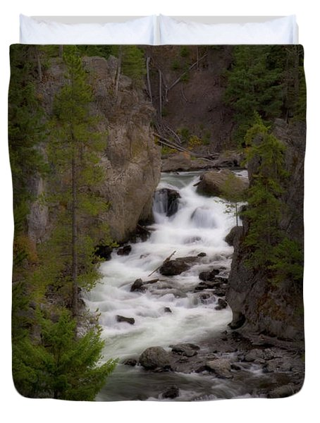 Duvet Cover featuring the photograph Firehole Canyon by Steve Stuller