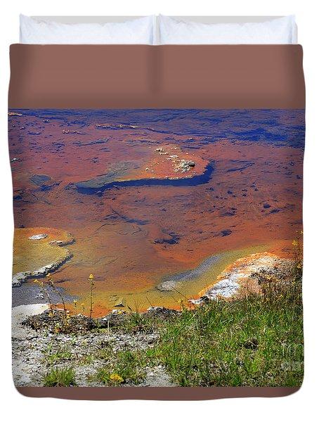 Firehole Lake Yellowstone National Park Duvet Cover by Louise Heusinkveld
