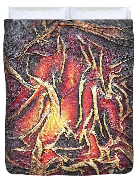 Duvet Cover featuring the mixed media Firelight by Angela Stout