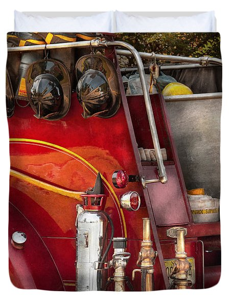 Fireman - Ready For A Fire Duvet Cover by Mike Savad