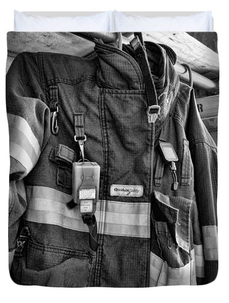 Fireman - Saftey Jacket Black And White Duvet Cover by Paul Ward