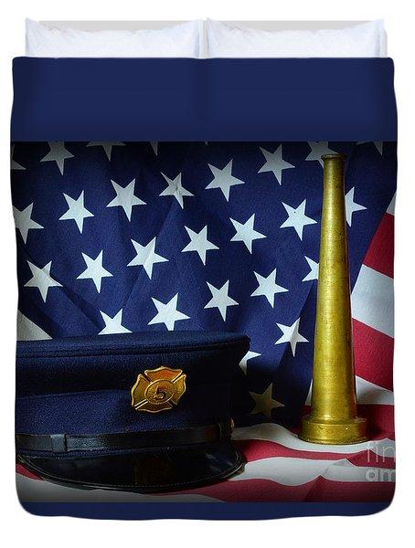 Fireman - American Hero Duvet Cover by Paul Ward