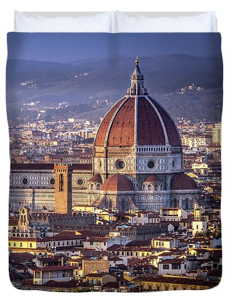 Duvet Cover featuring the photograph Firenze E Il Duomo by Sonny Marcyan
