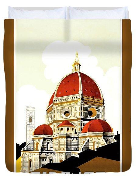 Firenze Travel Poster 1930 Duvet Cover