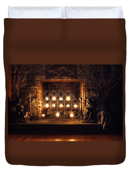 Fireplace Glow Duvet Cover