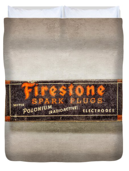 Firestone Spark Plugs Box Duvet Cover
