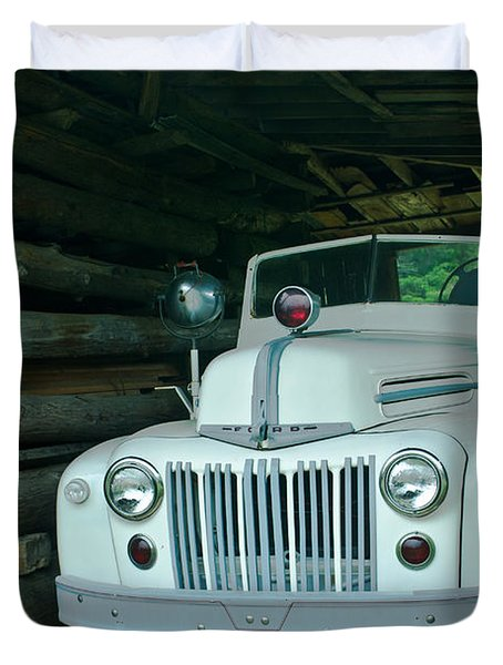 Firetruck In A Barn Duvet Cover