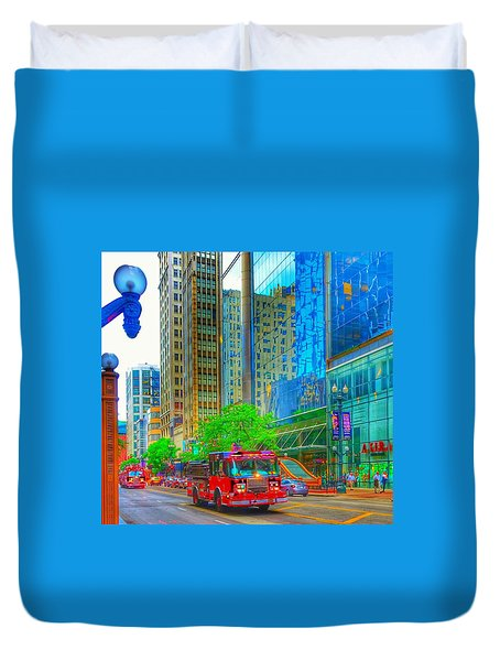 Duvet Cover featuring the photograph Firetruck In Chicago by Marianne Dow