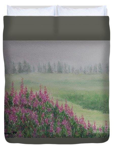 Fireweeds Still In The Mist Duvet Cover by Stanza Widen