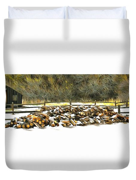 Duvet Cover featuring the photograph  Floyd Snyder by Firewood in the Snow at Fort Tejon