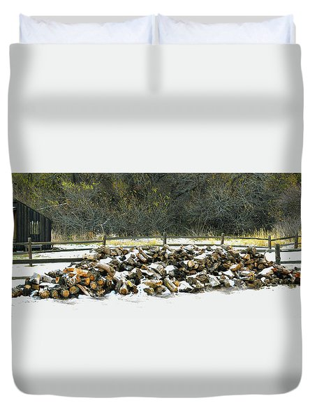 Duvet Cover featuring the photograph Firewood In The Snow At Fort Tejon by Floyd Snyder