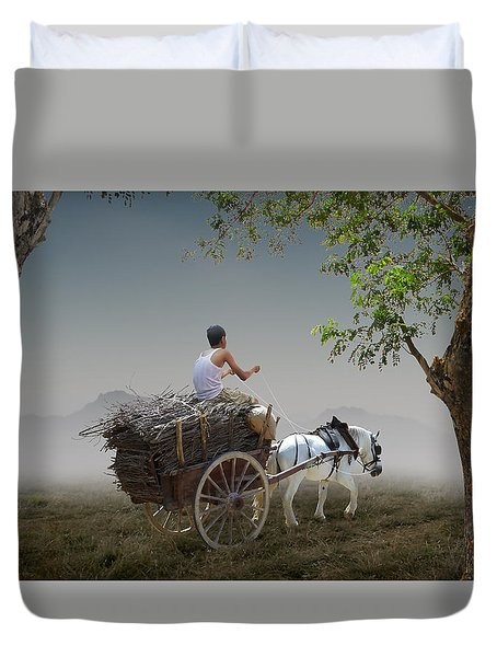 Duvet Cover featuring the mixed media Firewood Sale by Marvin Blaine