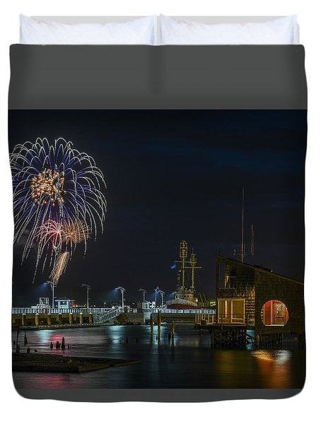 Fireworks And 17th Street Docks Duvet Cover