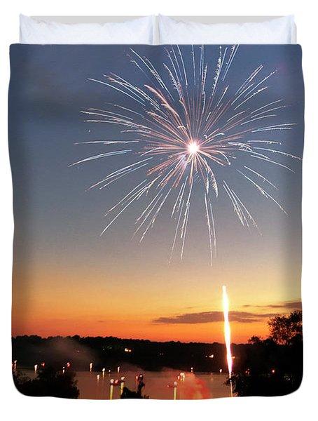 Fireworks And Sunset Duvet Cover