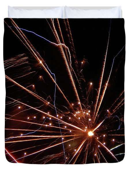 Duvet Cover featuring the photograph Fireworks Blast #0703 by Barbara Tristan