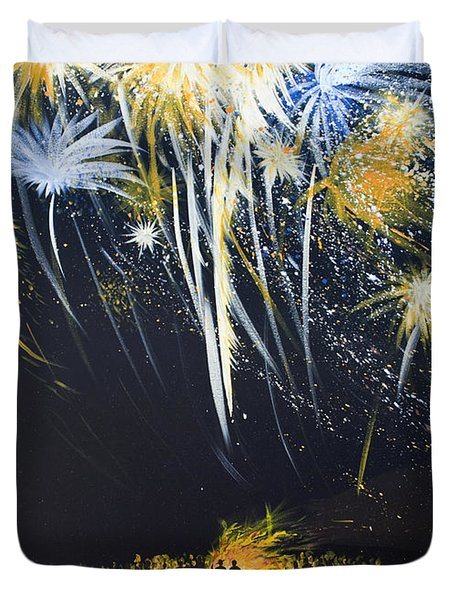 Fireworks Bonfire On The West Bar Duvet Cover by Charles Harden