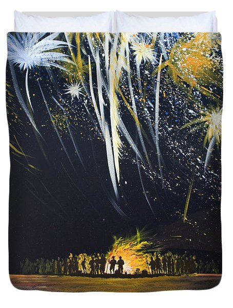 Fireworks Bonfire On The West Bar Duvet Cover