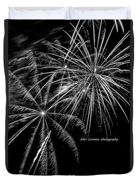 Fireworks Bw Duvet Cover by John Loreaux