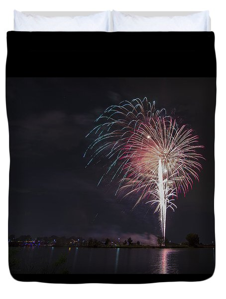 Fireworks Display On The Lake Duvet Cover by Chris Thomas