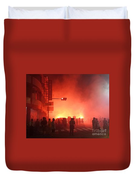 Duvet Cover featuring the photograph Fireworks During A Temple Procession by Yali Shi