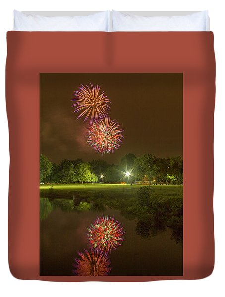 Fireworks During Fair St Louis Duvet Cover