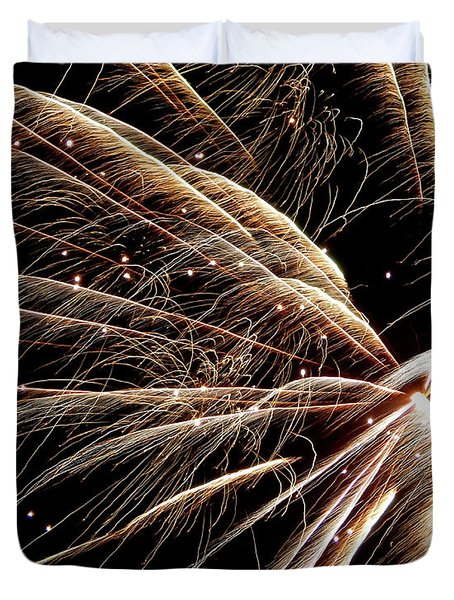 Duvet Cover featuring the photograph Fireworks Evolution #0710 by Barbara Tristan