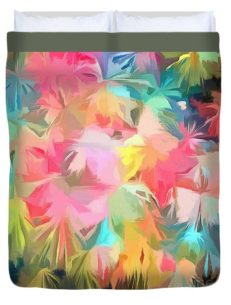 Fireworks Floral Abstract Square Duvet Cover by Edward Fielding