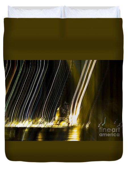 fireworks in Port of Malaga Duvet Cover